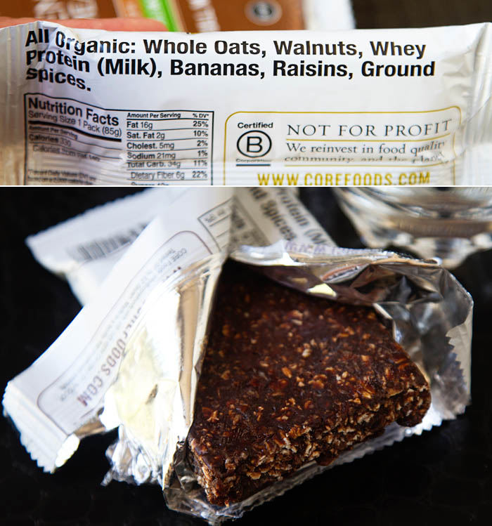 CORE bars are made with simple organic ingredients