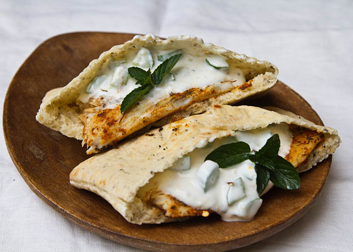 Grilled Barramundi Pita Sandwich with Cucumber Yogurt