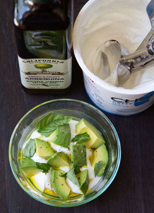 Making Avocado Basil Greek Yogurt Parfaits
