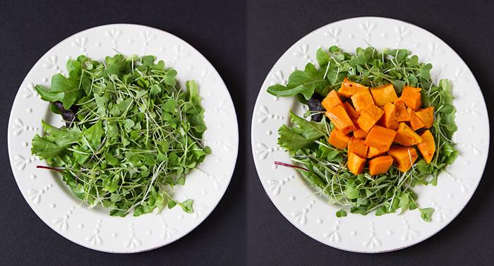 Assembling the salads