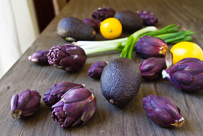 Baby Purple Artichokes, Meyer Lemons, Avocados, and Scallions