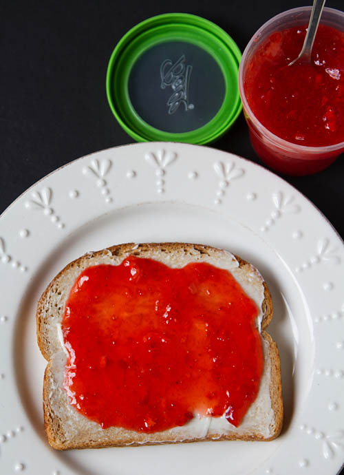 Butter and Strawberry Freezer Jam on Toast