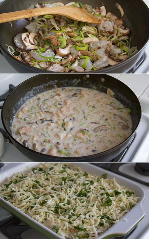 Making shrimp macaroni gratin