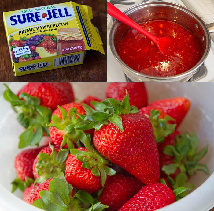 Making strawberry freezer jam