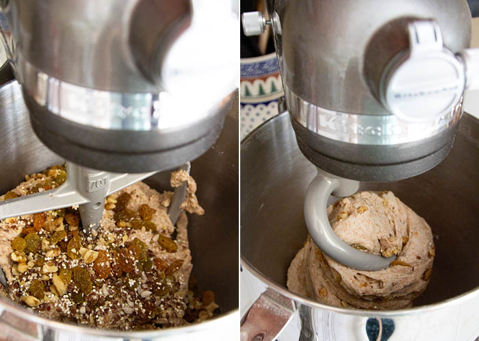 Making the bread dough in my KitchenAid stand mixer.