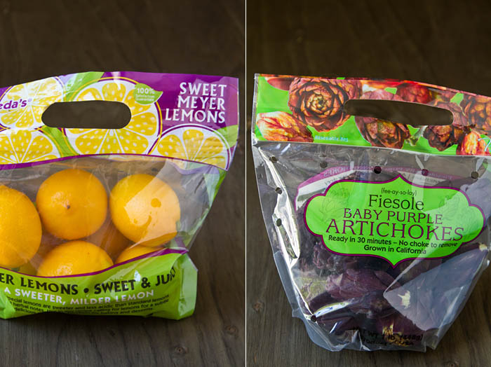 Meyer Lemons and Fiesole Baby Purple Artichokes from Frieda's
