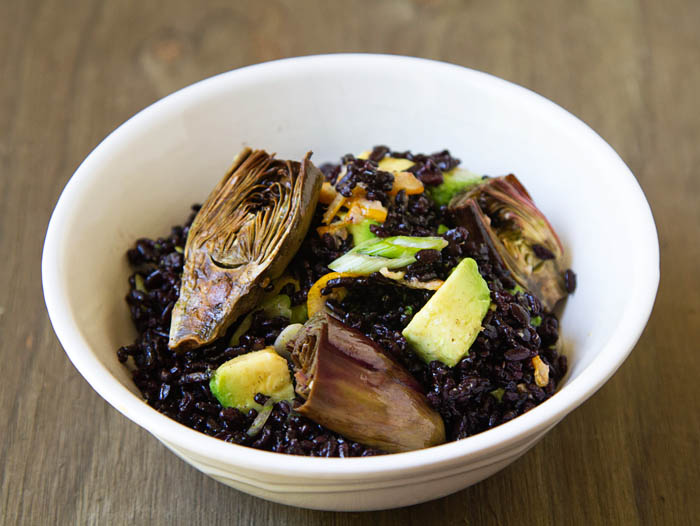 Roasted Baby Purple Artichoke Black Rice Salad