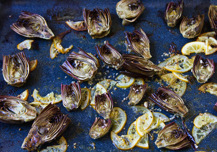 Roasted Baby Purple Artichokes and Meyer Lemon Slices