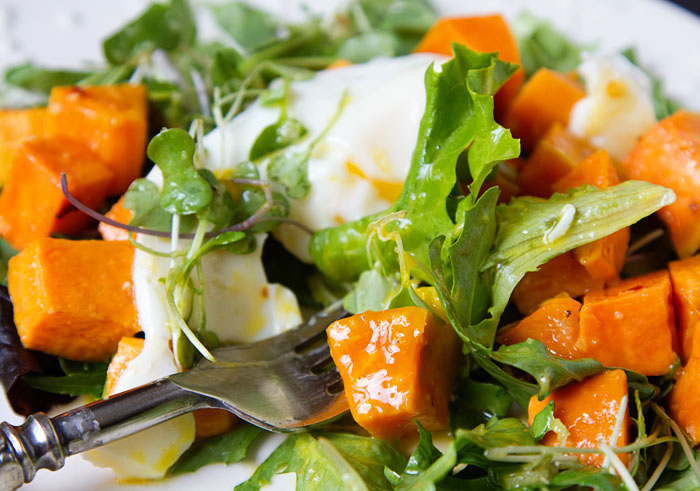 Roasted Sweet Potato Salad with Fried Egg and Ginger Sesame Vinaigrette