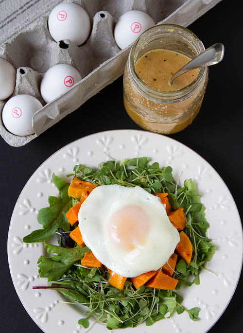 Roasted Sweet Potato Sunny-Side Up Salad