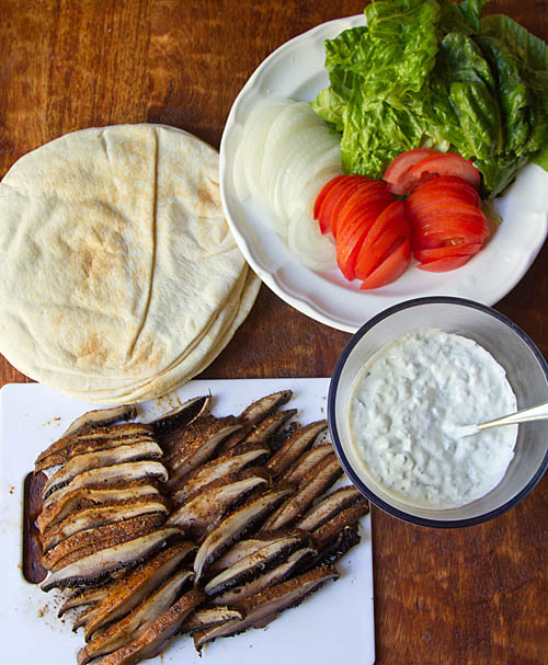 Ingredients for Mushroom Pita Gyros