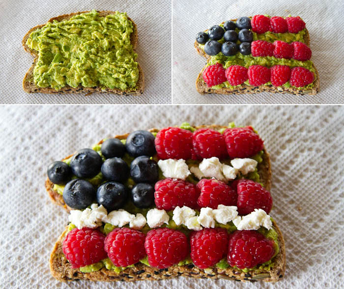 Making Red White & Blue Avocado Toast
