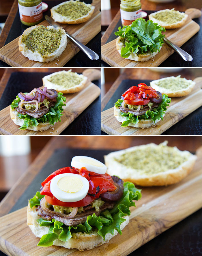 Assembling Bob's Dagwood Steak Sandwich