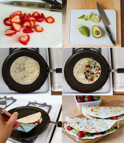 Making Strawberry Quesadillas