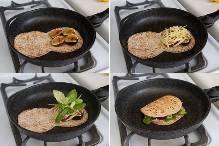 Making a flatbread fig sandwich