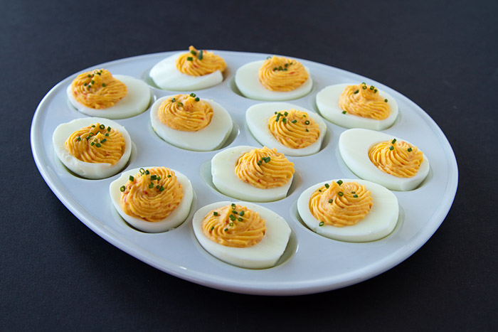 Devilish Sweet & Spicy Deviled Eggs