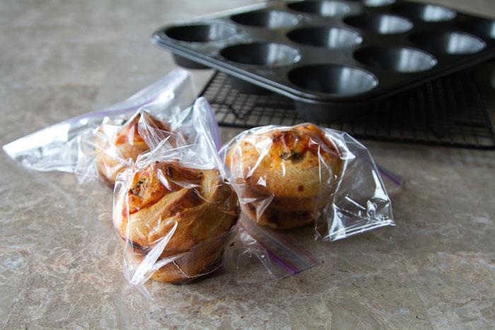 Freeze leftover pizza rolls in ziploc plastic bags