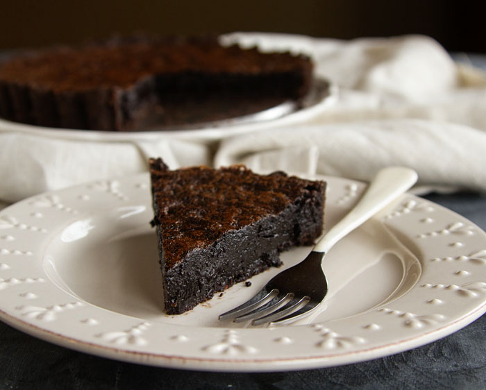 A piece of Chocolate Chess Pie