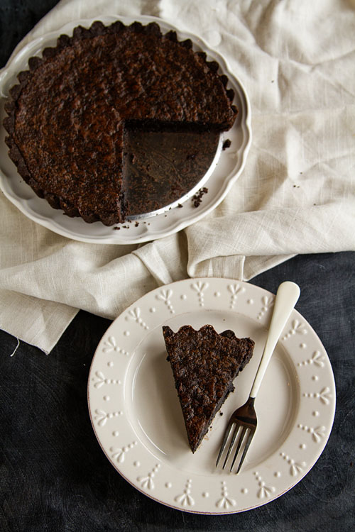 Chocolate Chess Pie with Chocolate Almond Crust