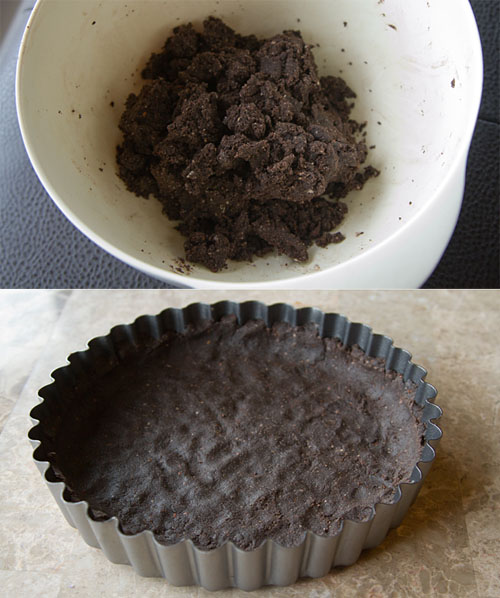 Making chocolate almond pie crust