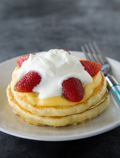 Japanese Hot Cakes with Custard and Strawberries