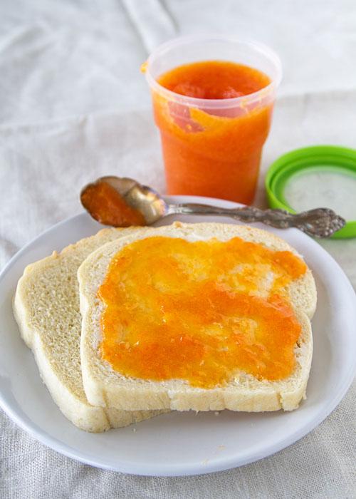 Persimmon freezer jam on toast