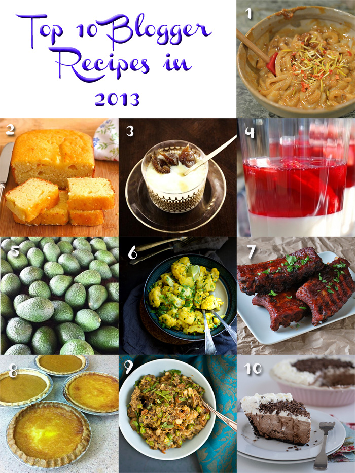 Top 10 Blogger Recipes in 2013