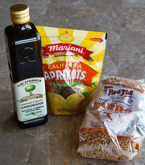 California Olive Ranch Olive Oil, Mariani Dried California Apricots, and Bob's Red Mill Organic Farro