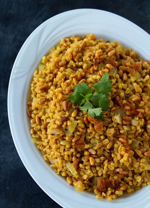 http://californiaoliveranch.com/recipes/vegetables-and-sides/saffron-farro-with-apricots-and-pine-nuts