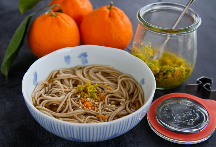 Toshi Koshi Soba garnished with Meyer Mandarin Kosho