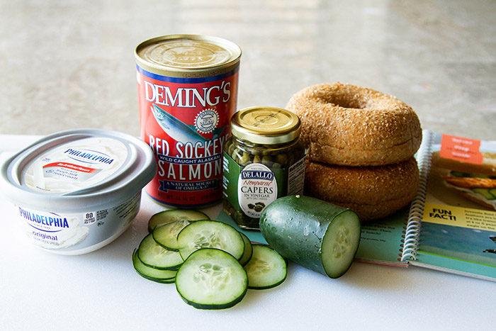 Ingredients for Wild Alaska Salmon and Cream Cheese Bagels with Cucumbers