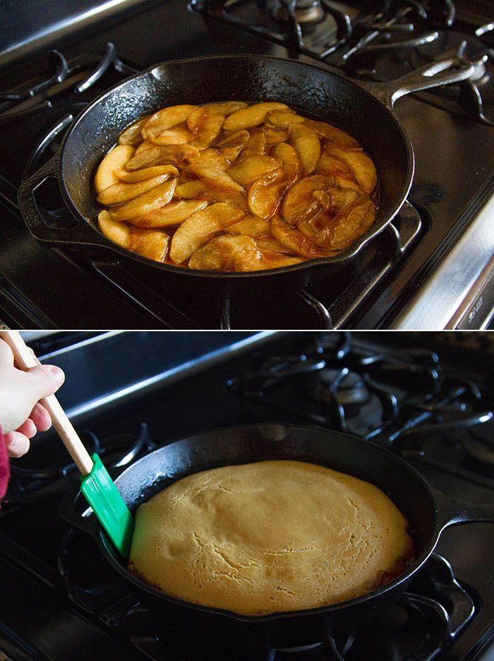Making an apple pancake