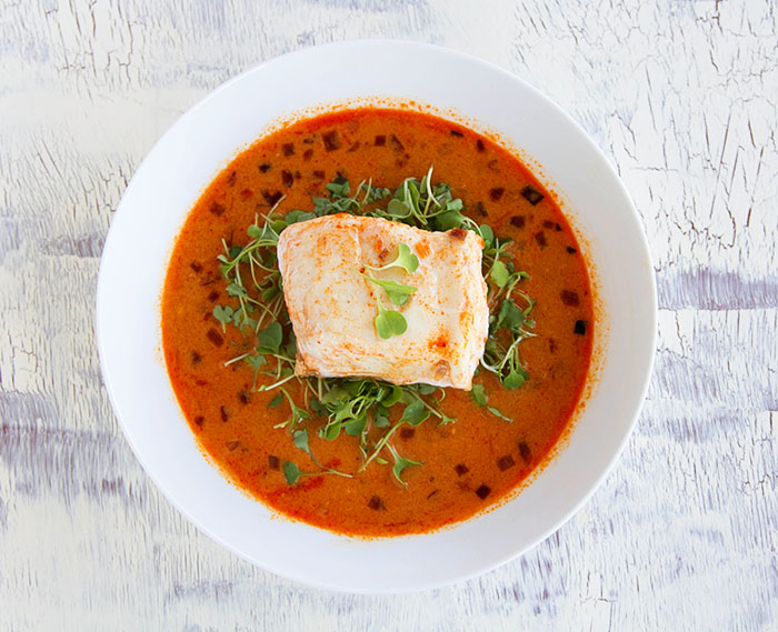 Red Coconut Curry Poached Halibut