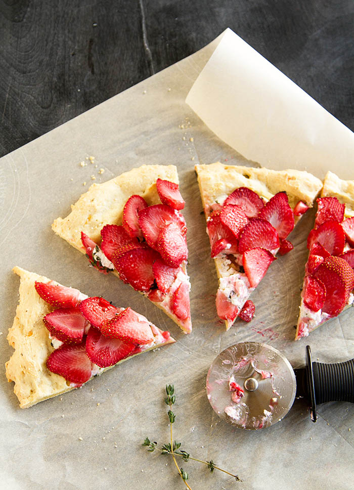 Slices of strawberry chevre flatbread pizza