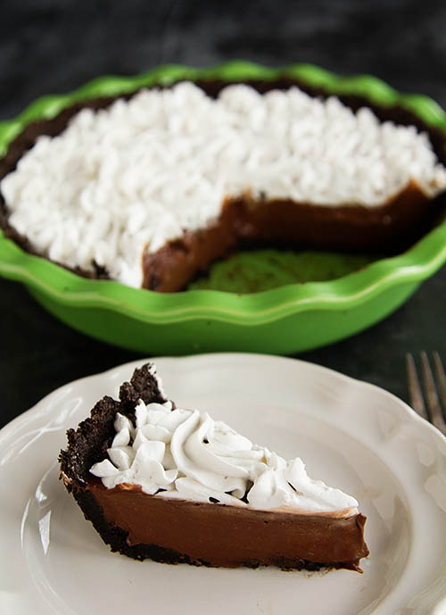 Slice of Paleo Chocolate Silk Pie