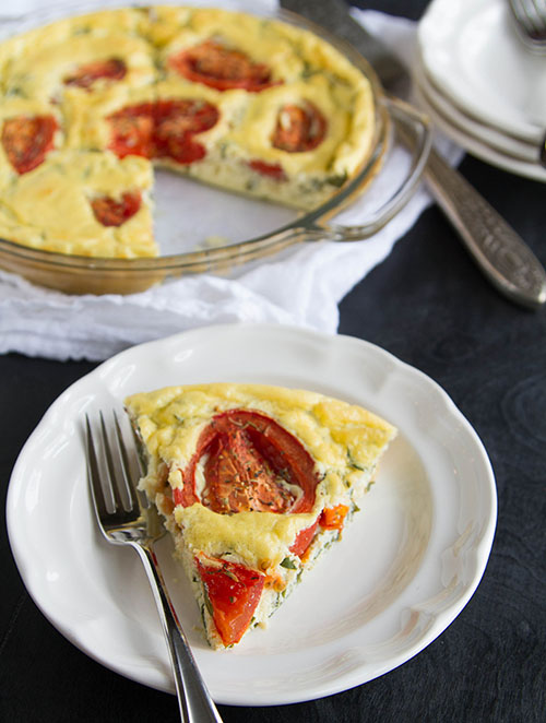 A slice of Roasted Tomato Tofu Quiche