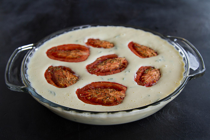Roasted Tomato Tofu Quiche ready to go into the oven