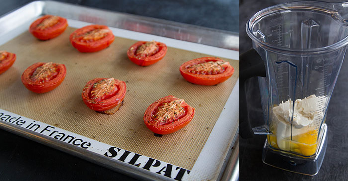 Roasting tomatoes and making the quiche filling