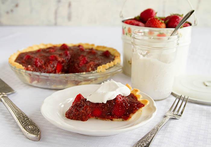 A slice of strawberry pie