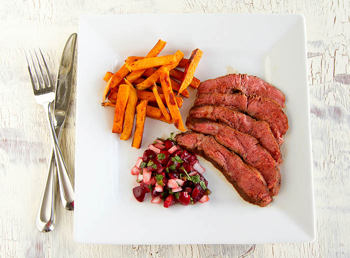 A twist on French steak frites with a cacao chili-rubbed flat iron steak