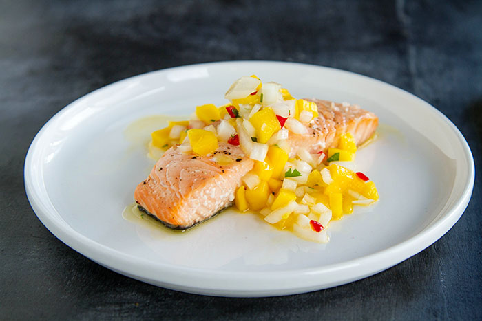 Baked Salmon with Mango Ceviche