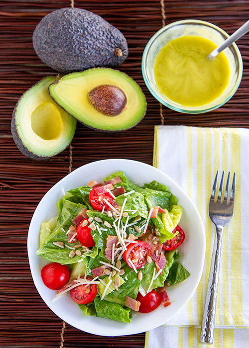 Serving up BLT Sald with Avocado dressing