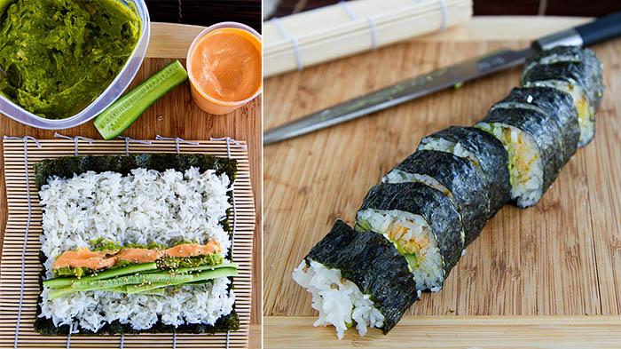 Making cucumber guacamole sushi roll