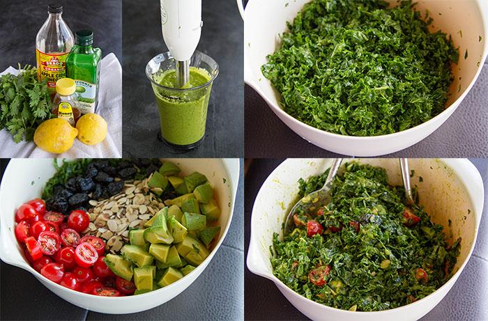 Making kale power salad with lemon cilantro vinaigrette dressing