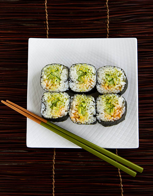 Spicy Cucumber Guacamole Sushi Roll
