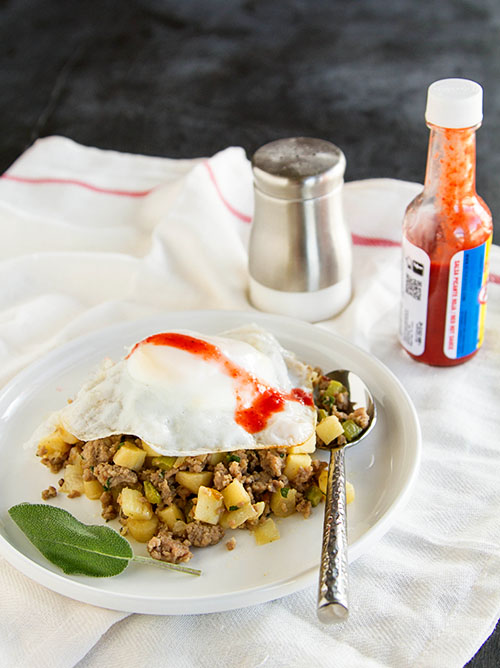 Pork Parsnip Hash with a Fried Egg