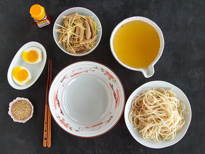 Ingredients for leftover turkey ramen