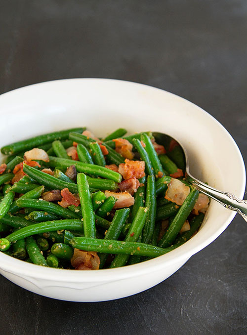 Sesame Green Beans with Bacon and Chestnuts 500px wide
