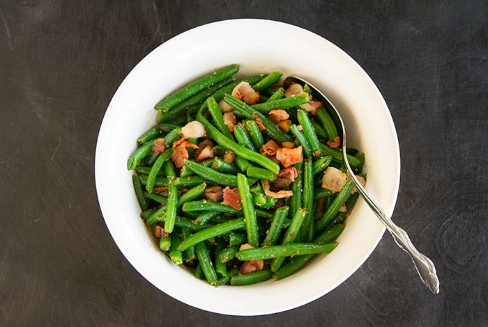 Sesame Green Beans with Bacon and Chestnuts