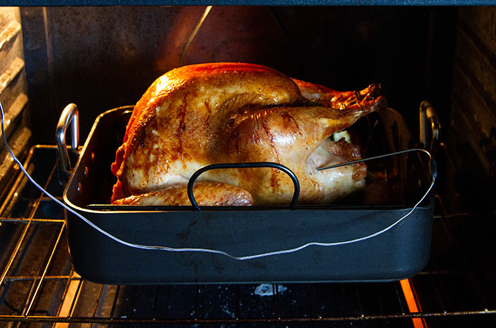 Turkey roasting in the oven
